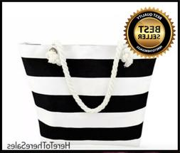 Beach Tote Bag With Zipper Pocket White & Black Striped w/ R