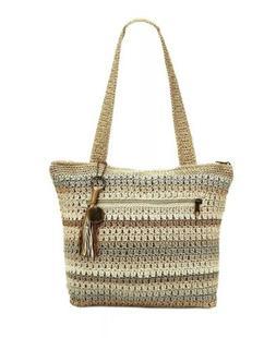 beige amberly hand crochet large zip top