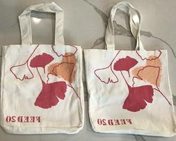 CLARINS beige red floral cotton feed 20 tote bag shoulder sh