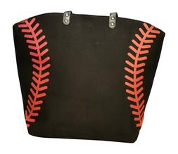Black Baseball Seam Canvas Tote Bag Purse Lined w/ magnetic
