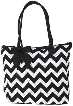 Black Chevron Womens Ladies Quilted Tote Bag 16 inch Cotton