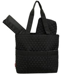 Black Diamond Pattern NGIL™ Quilted 3pc Diaper Bag