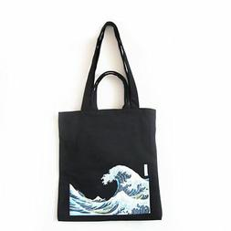 ASAPS Black Printed Vintage Canvas Tote Bag with Handles