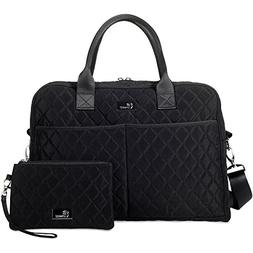 Pursetti Black Quilted Weekender Bag for Women w/Bonus Wrist