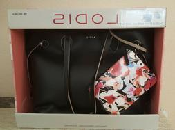 Lodis Bliss Leather Tote bag with Wristlet, Black - New