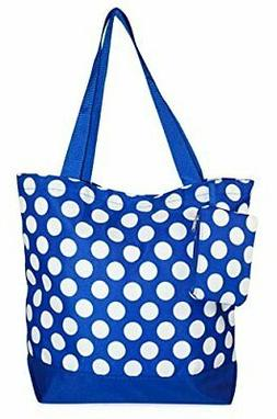 Ever Moda Blue and White Polka Dots Tote Bag Large 17-inch