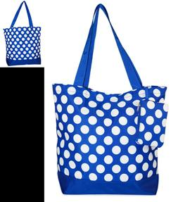Ever Moda BLUE & WHITE Polka Dots Tote Bag LARGE 17 Inch