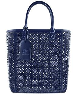 Tory Burch Blue Lace Perforated Faux Patent Leather  Large T
