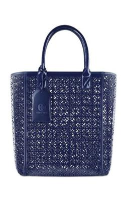Tory Burch Blue Lace Perforated Patent leather Tote Bag Hand