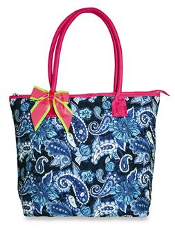 Blue Paisley Womens Ladies Quilted Tote Bag 16 inch Cotton M