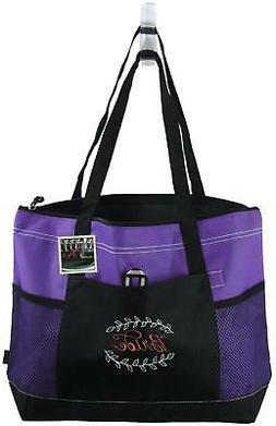 Bride Sage & Coral Monogram Purple Gemline Tote Bag Bridal P