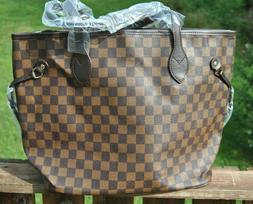 Brown Checkered Tote Bag Shoulder Purse with Small Pouch Veg