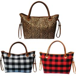 Buffalo Plaid Weekender Travel Bags Leopard Tote Duffel Bag