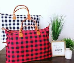 Buffalo Plaid Weekender Travel Bags Tote Duffel Bag Overnigh