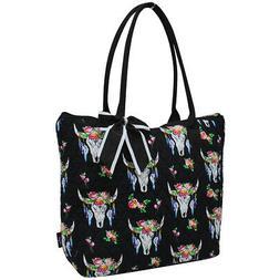 Bull Skull NGIL® Quilted Large Ribbon Tote Bag
