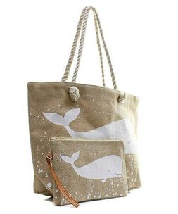 burlap whale rope handle beach tote tote