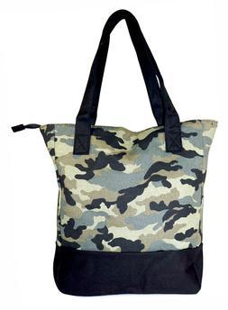 Camo Canvas Tote Bag Purse Handbag Travel Shopping Large Wom