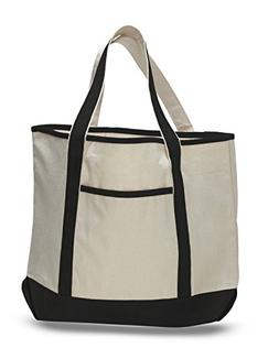 Canvas Beach Tote Bags Two-Tone Large Daily Boat Totes, Blac