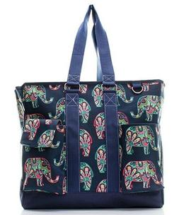 canvas elephant elephants zippered caddy organizer tote