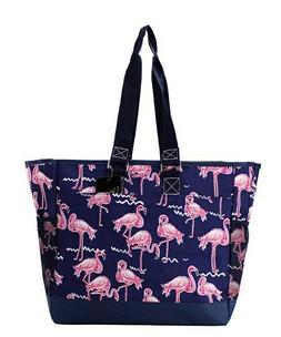 Canvas Flamingo Beach Summer Zippered Caddy Organizer Tote B