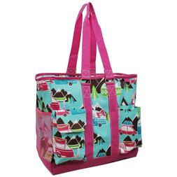 canvas happy camper pink zippered caddy organizer