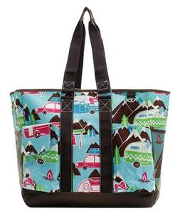 Canvas Happy Camper Print NGIL Zippered Caddy Organizer Tote
