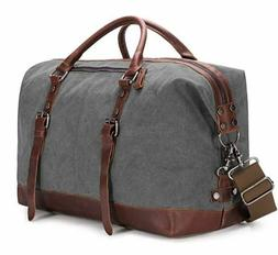 BAOSHA Oversized Canvas PU Leather Travel Tote Duffel Bag We