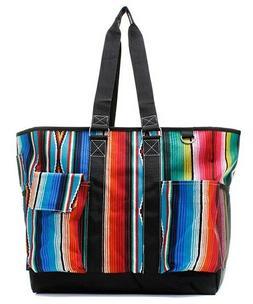 Canvas Serape Aztec Zippered Caddy Organizer Tote Bag Free S