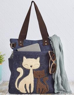 Canvas Tote Bag For Women Girls Cat Lovers Handbag School Gr