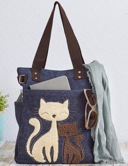 Canvas Tote Bag For Women Girls Cat Lovers Handbag School Gr