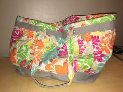 Thirty One Canvas Tropical Floral Tote Bag Large Size Double