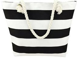Canvas White & Black Striped Summer Beach Tote Bag Purse W/