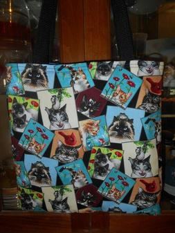 Cat Tote Bag Curious Cats Mischief Siamese Tabby Calico Fun