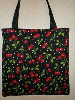 Cherry Cherries tote bag Polka Dot Fruit Fun Gift Book Lunch
