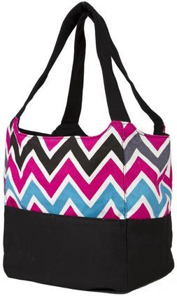 Ever Moda Black Pink Multicolor Chevron Canvas XL Tote Bag P
