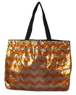 Chevron Sequin Large Tote Bag Womens Ladies Stripes Sequence