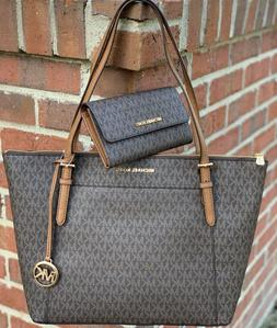 MICHAEL KORS CIARA LG SHOULDER BAG TOTE BROWN  SIGNATURE and