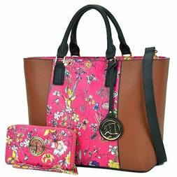 Dasein Classic Medium Floral Tote Bag with Matching Wallet