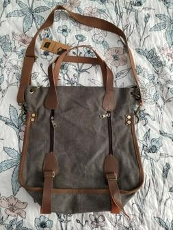 Sanxiner Classic Women's Canvas Tote Bag Grey and Brown New