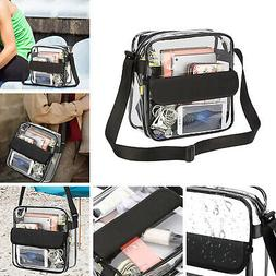 Clear Plastic Tote Bag Women Transparent Handbag Zip Purse N