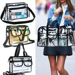 Clear Plastic Tote Bag Women Transparent PVC Handbag Zip Pur
