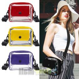 Clear Plastic Tote Bag Women Transparent PVC Handbag Zip Pur