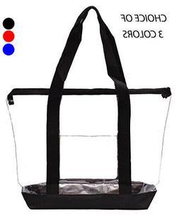 Clear Tote Bag PVC Transparent Purse Handbag Zipper Security