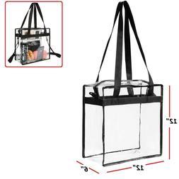 Clear Tote Bag Transparent Zipper Purse Backpack Shoulder Ha