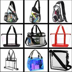 Clear Tote Bag Women Men Transparent Handbag Zip Purse Sling