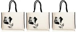 LANCOME cotton Canvas IVORY white black REUSABLE Tote Bag SH