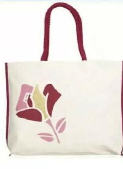 LANCOME cotton Canvas IVORY white pink REUSABLE Tote Bag SHO