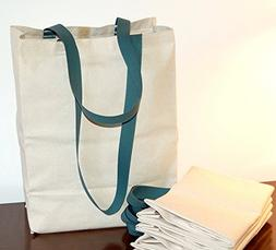 Turtlecreek Cotton Canvas Reusable Grocery Tote Bags with Lo