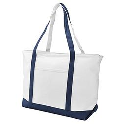 "DALIX 23"" Premium 24 oz. Cotton Canvas Shopping Tote Bag in"