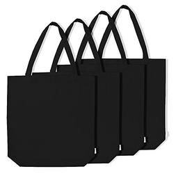 Augbunny 100% Cotton Canvas Shopping Tote Bag Grocery Bag 4-